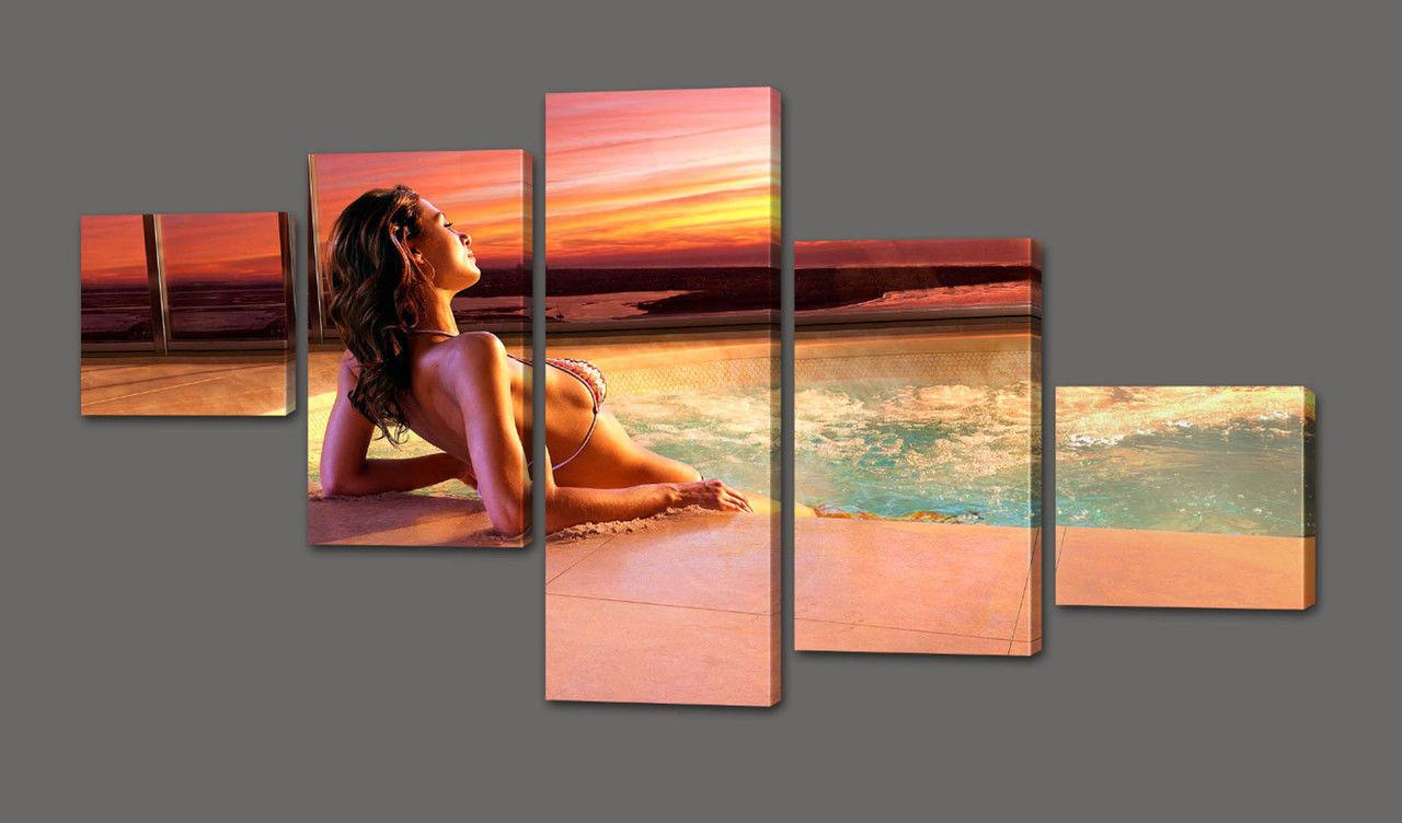Модульна картина Дівчина, море і захід 110*64 см Код: 309.5 110 к.