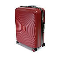 Большой чемодан из полипропилена на 4-х колесах Snowball бордовый, фото 1