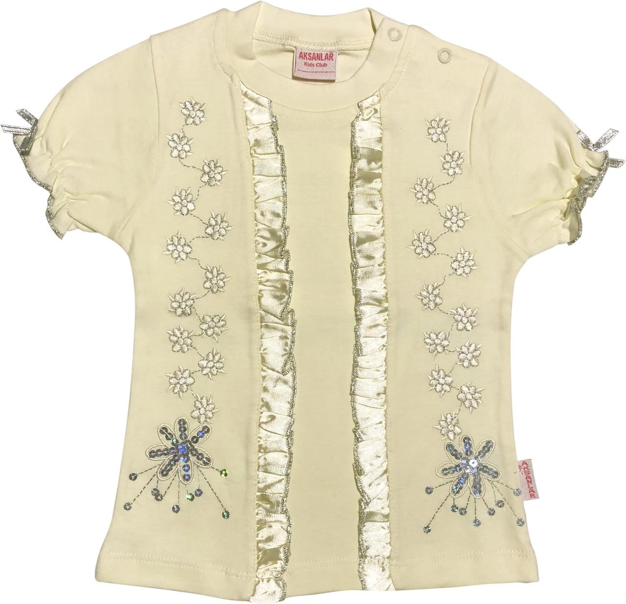 Дитяча футболка з паєтками на дівчинку ріст 92 1,5-2 роки для малюків стильна ошатна трикотажна жовта