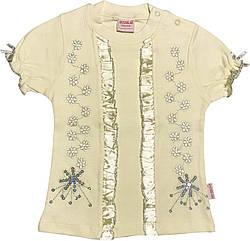Детская футболка с пайетками на девочку рост 92 1,5-2 года для малышей стильная нарядная трикотажная жёлтая
