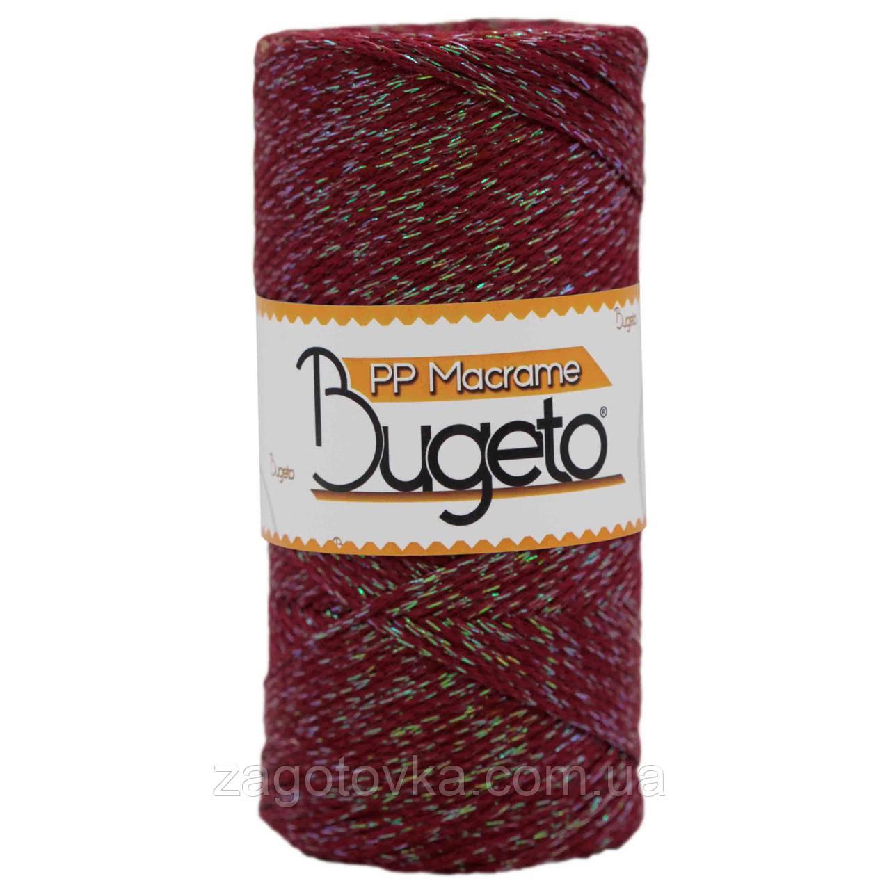 Полипропиленовый шнур с люрексом Macrame Glitter 2 mm Bugeto, Молодое красное вино с перламутром