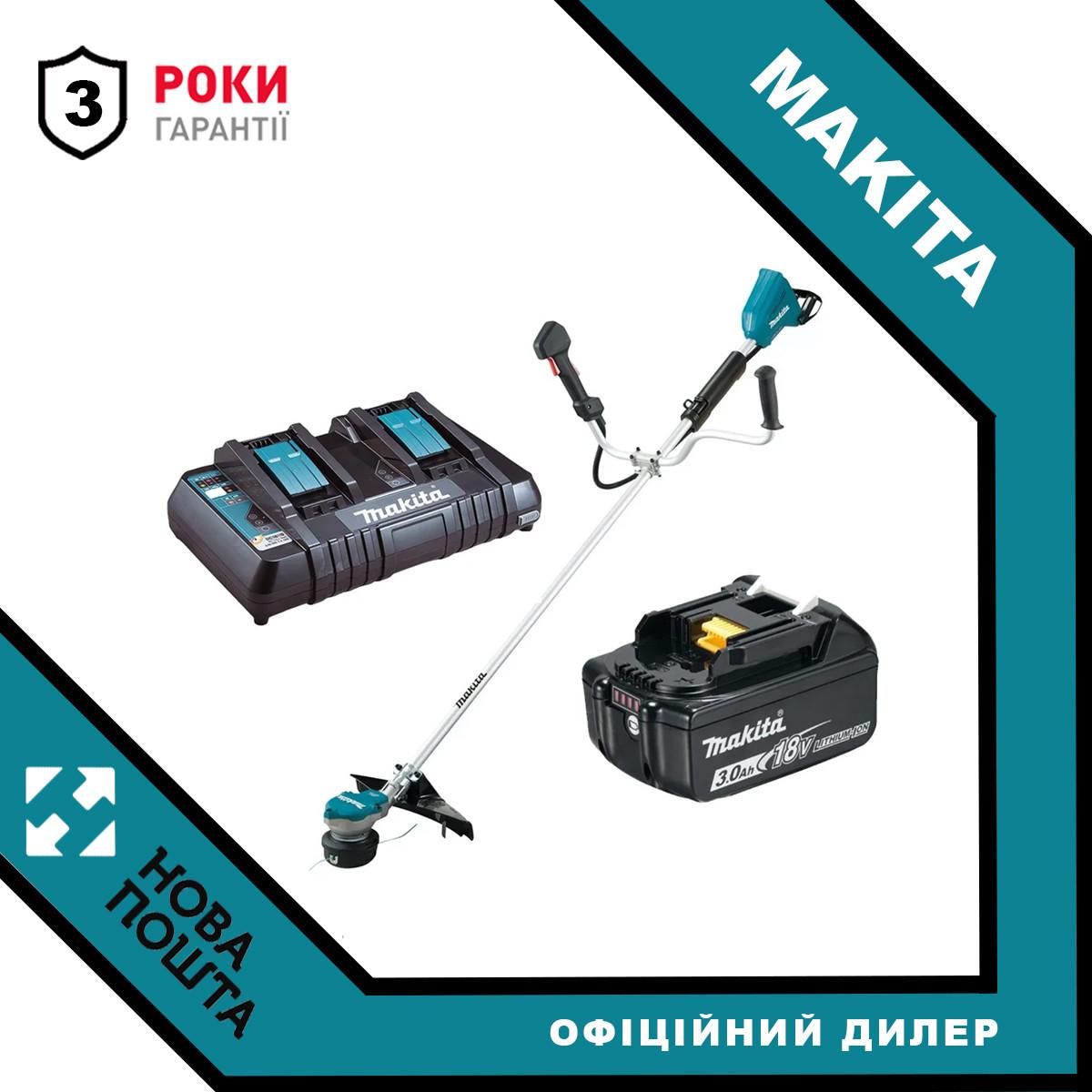 Акумуляторний тріммер MAKITA DUR368AZ + Швидкозарядний пристрій і Акумулятор 18В LXT 3 Аг