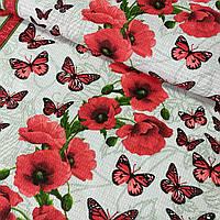Вафельная ткань красные маки и бабочки на сером, ш. 50 см