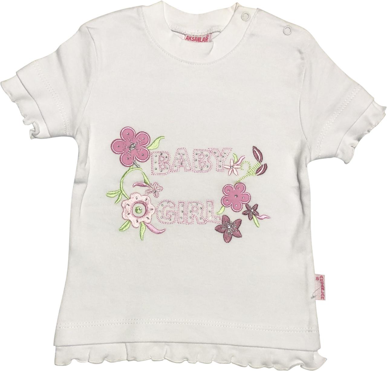 Дитяча футболка на дівчинку ріст 86 1-1,5 року для новонароджених малюків красива ошатна трикотажна біла
