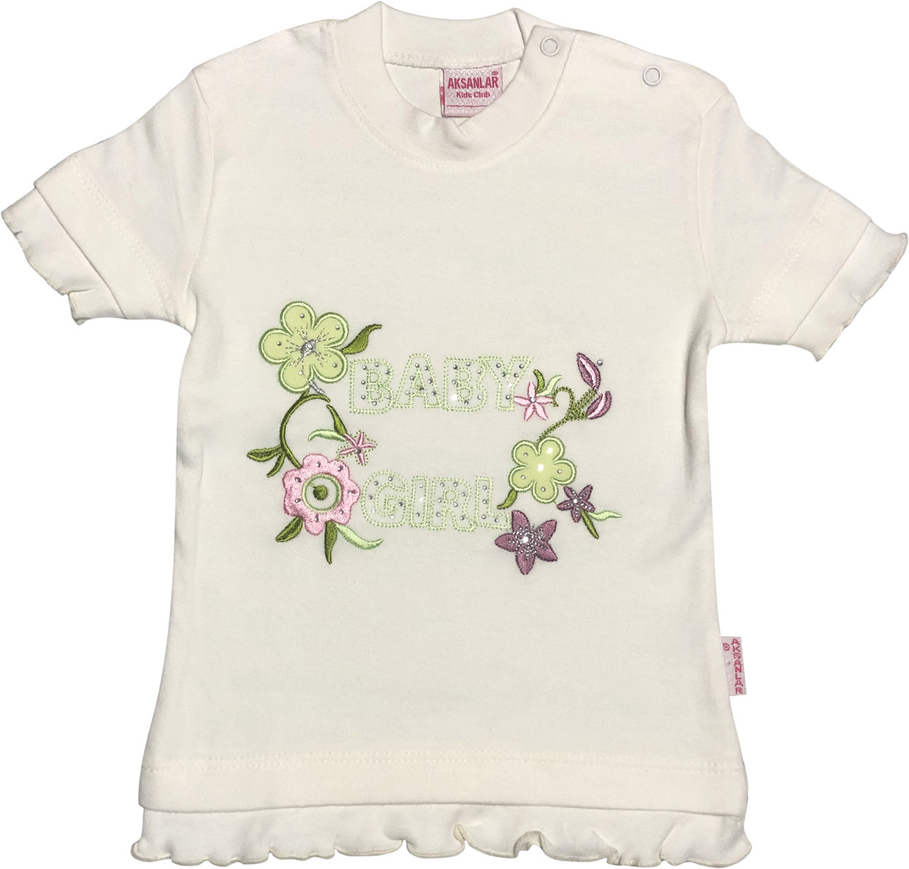 Дитяча футболка на дівчинку ріст 86 1-1,5 року для новонароджених малюків красива ошатна трикотаж молочна