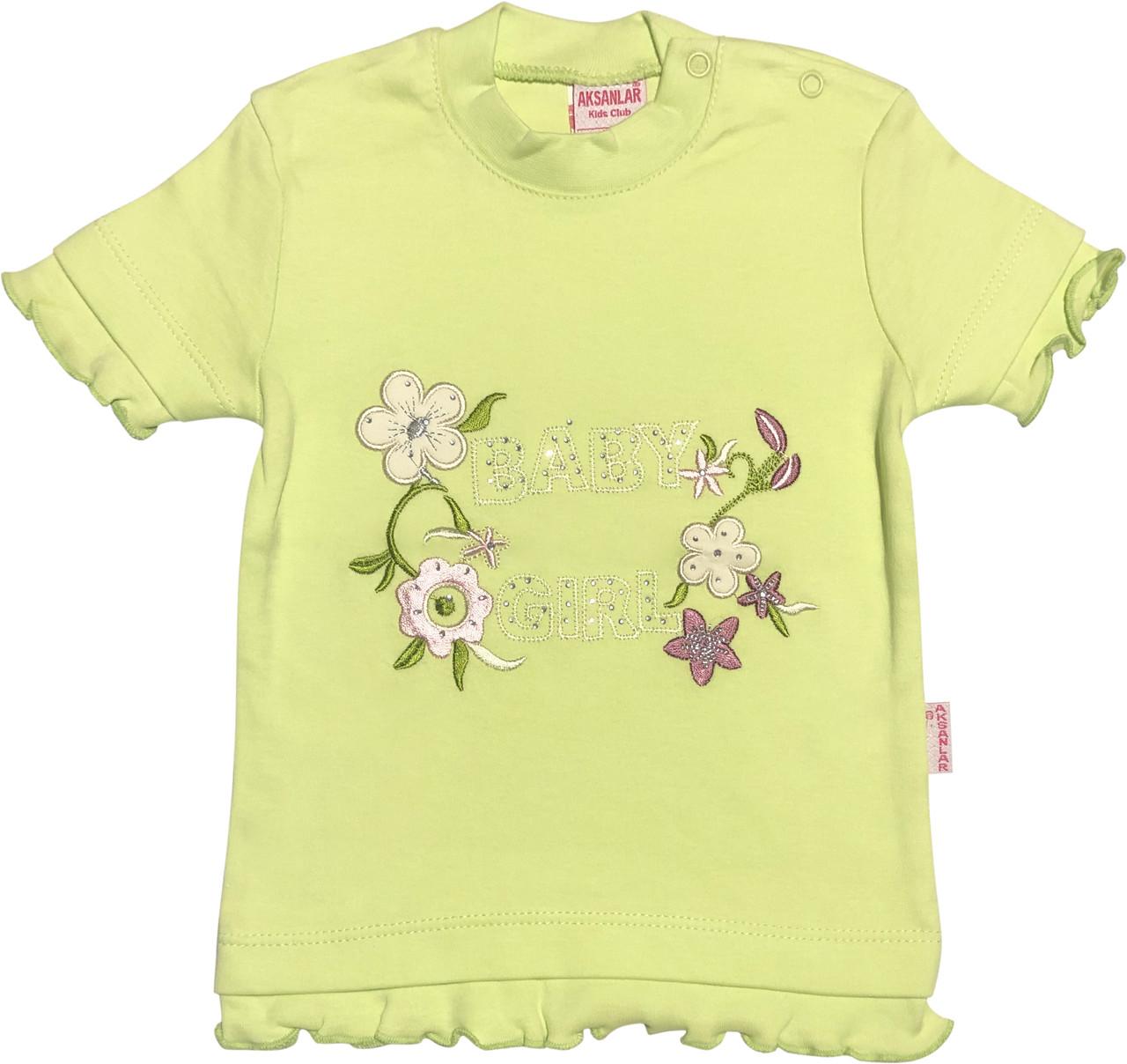 Детская футболка на девочку рост 86 1-1,5 года для новорожденных малышей красивая нарядная трикотаж салатовая