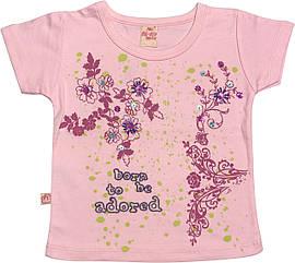 Детская футболка на девочку рост 92 1,5-2 года для малышей красивая стильная нарядная трикотажная розовая