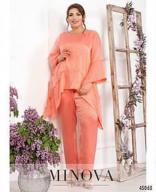 Необыкновенный яркий женский костюм брючный из шелка персикового цвета больших размеров от 50 до 60