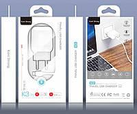 Сетевое зарядное устройство для телефона + кабель USB Type-C KONI STRONG K3 |1USB, 2.1A, 10.5W| Белый