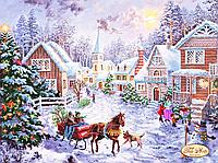 Cхема на ткани для вышивки бисером Рождественская деревня ТА-228