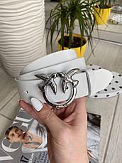 Шкіряний ремінь Пінко білий срібло 3,5 см РПИН10, фото 2