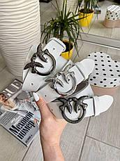 Шкіряний ремінь Пінко білий срібло 3,5 см РПИН10, фото 3
