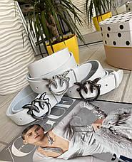 Кожаный ремень Пинко белый серебро 3,5 см РПИН10, фото 2