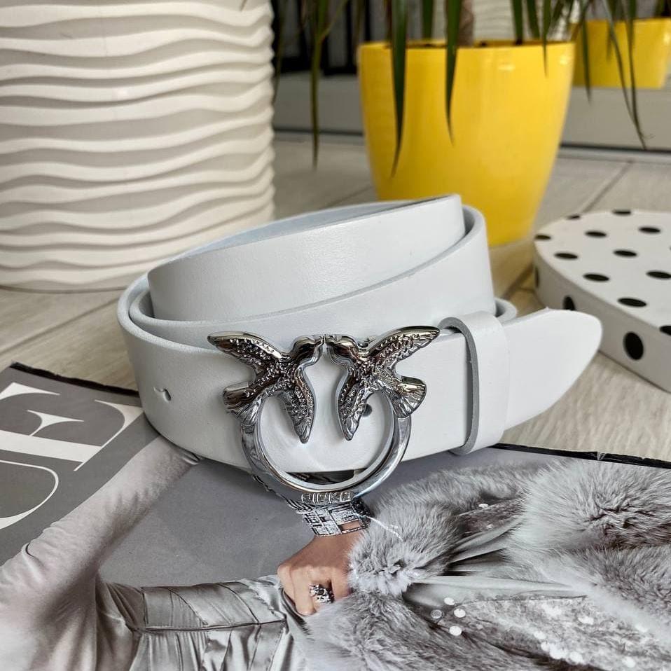 Кожаный ремень Пинко белый серебро 3,5 см РПИН10