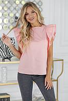 Жіноча літнє блуза з коротким рукавом-воланом, фото 1