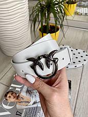 Шкіряний ремінь Пінко білий нікель 3,5 см РПИН11, фото 2
