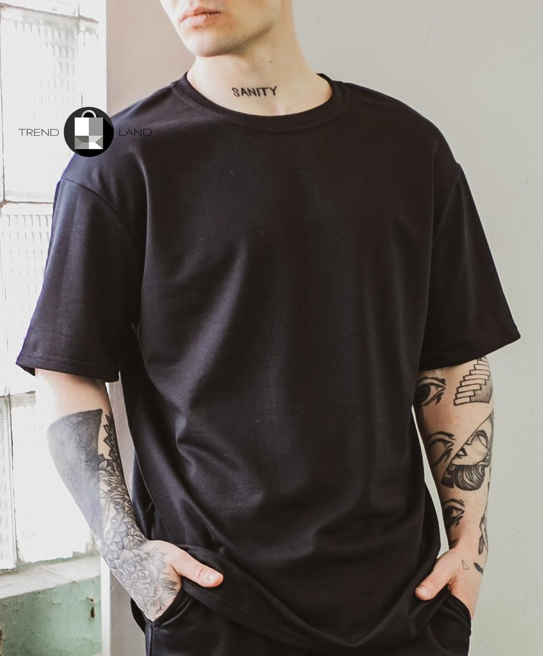 Мужская летняя оверсайз футболка Player Oversize Black черного цвета