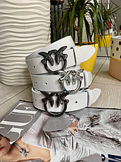 Кожаный ремень Пинко белый никель затертый (матовый) 3,5 см РПИН12, фото 3