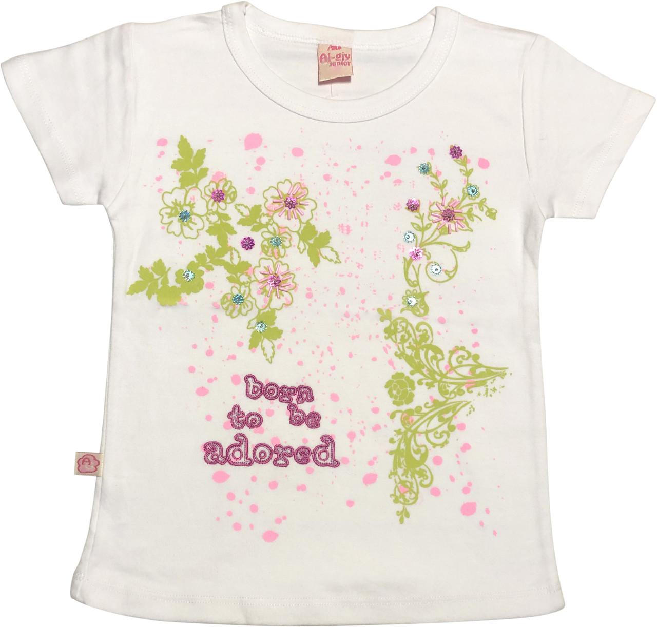 Дитяча футболка на дівчинку ріст 116 5-6 років для дітей красива стильна модна ошатна трикотажна біла