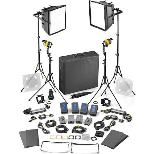 Dedolight DLED4.1/Felloni 2x2 Bi-Color 4-Light Master Kit (Mains & Battery Operation) (SLED2X2-BI-M)