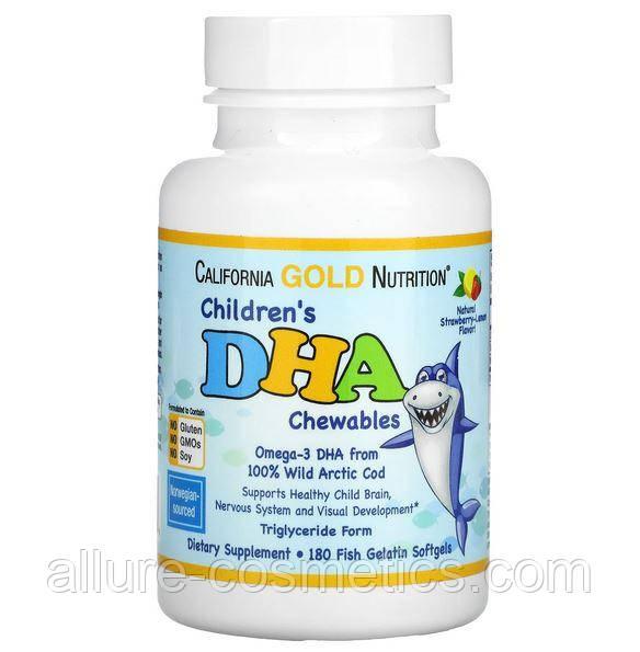 ДГК Омега-3 для детей со вкусом клубники и лимона California Gold Nutrition DHA 180 мягких таблеток