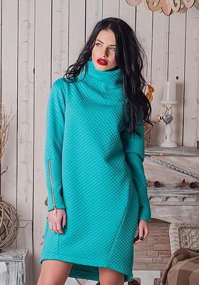 Модное теплое платье с воротником-стойкой