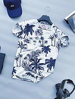 Футболка мужская с пальмами стильная молодежная белого цвета LONS | Чоловіча футболка з пальмами