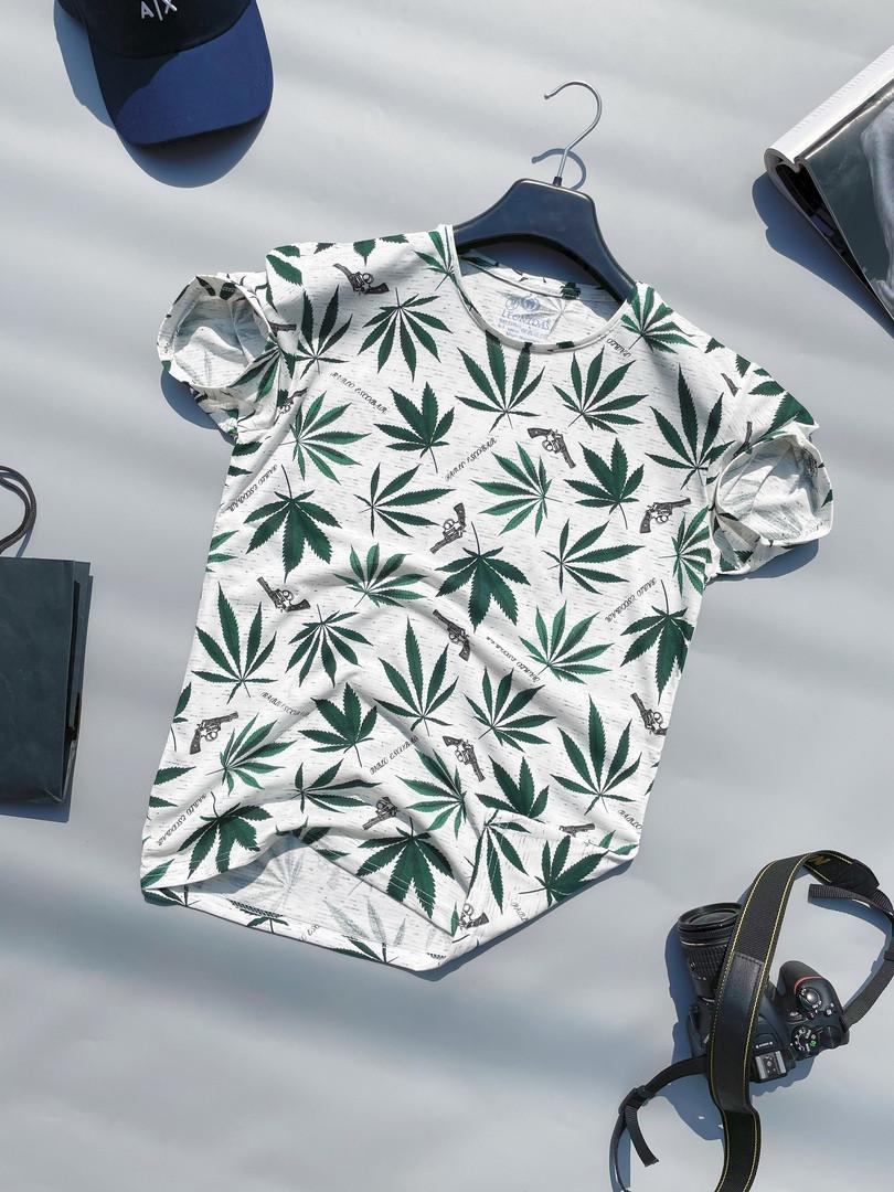 Футболка мужская стильная молодежная с рисунком конопли LONS   Чоловіча футболка з коноплею