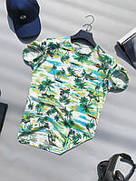 Мужская футболка летняя молодежная с рисунком пальм LONS | Чоловіча футболка з малюнком пальм