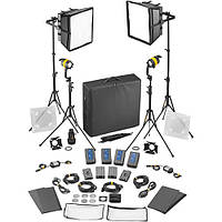 Dedolight DLED4.1/Felloni 2x2 Bi-Color 4-Light Battery Kit (Battery Operation) (SLED2X2-BI-BAT)