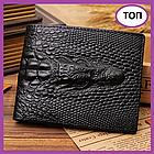 Клатч чоловічий гаманець з крокодилом, Стильний чоловічий клатч портмоне чорний, Модні клатчі еко шкіра
