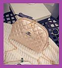 Жіноча маленька сумочка клатч стьобана, Жіночі міні сумки, Міні-сумка на плече золотиста