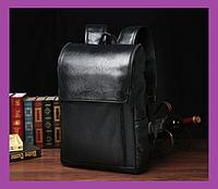 Стильний великий чоловічий міський рюкзак, чоловічий рюкзак для ноутбука з екошкіри чорний, міські Рюкзаки, фото 1