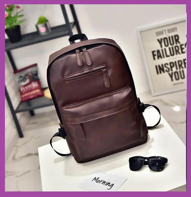 Стильный мужской рюкзак повседневный, городской  мужской рюкзак PU кожа коричневый, Рюкзаки городские