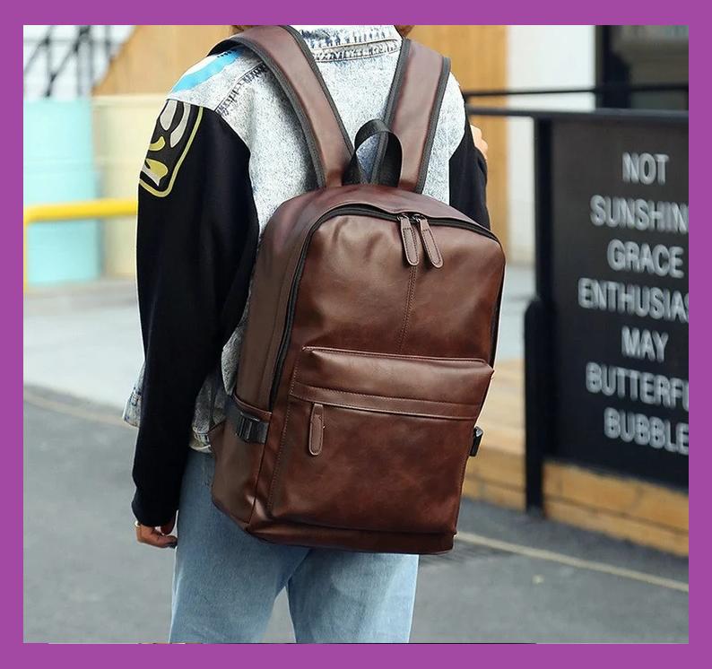 Класичний чоловічий рюкзак ПУ шкіра + ПОДАРУНОК візитниця