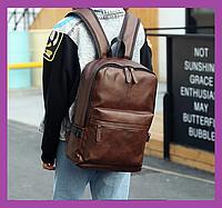 Стильный мужской рюкзак повседневный, городской  мужской рюкзак PU кожа коричневый, Рюкзаки городские, фото 1