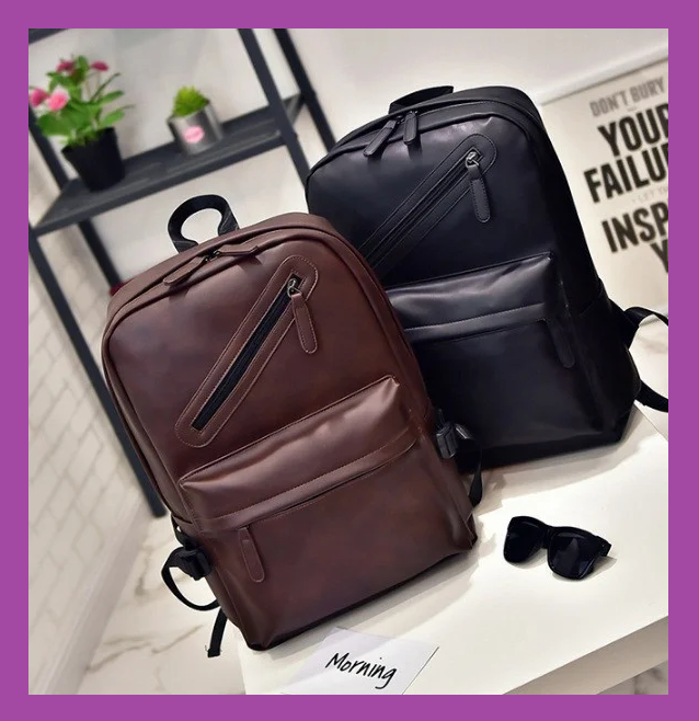 Вместительный городской рюкзак ,Повседневный мужской рюкзак PU кожа черный, Рюкзаки городские