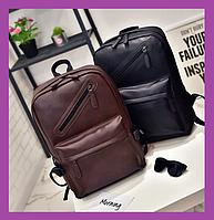 Вместительный городской рюкзак ,Повседневный мужской рюкзак PU кожа черный, Рюкзаки городские, фото 1
