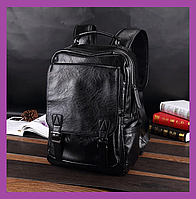 Трендовый мужской рюкзак PU кожа черный, Большой стильный повседневный мужской рюкзак, Рюкзаки городские, фото 1