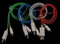 MicroUSB дата кабель, LG, HTC, плоский, светящийся