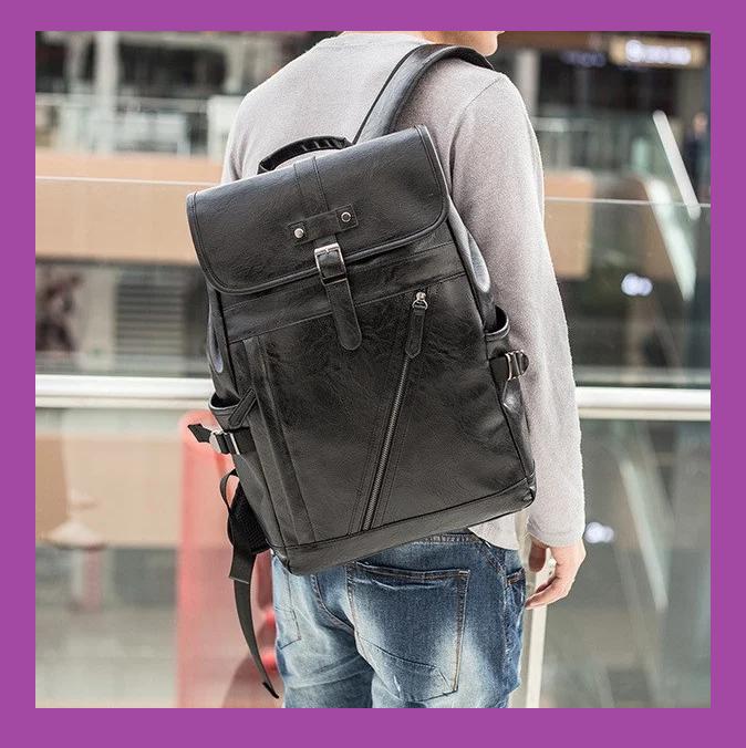 Чоловічий рюкзак міський чорний PU шкіра, Стильний повсякденний чоловічий рюкзак, міські Рюкзаки