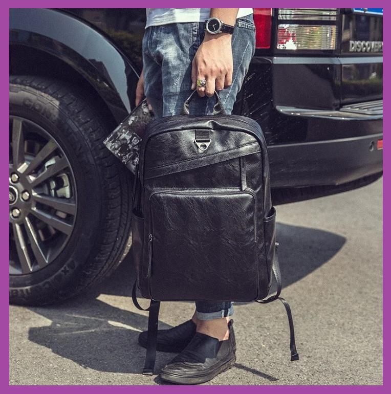 Большой мужской рюкзак ПУ кожа, Стильный повседневный мужской рюкзак, Рюкзаки городские