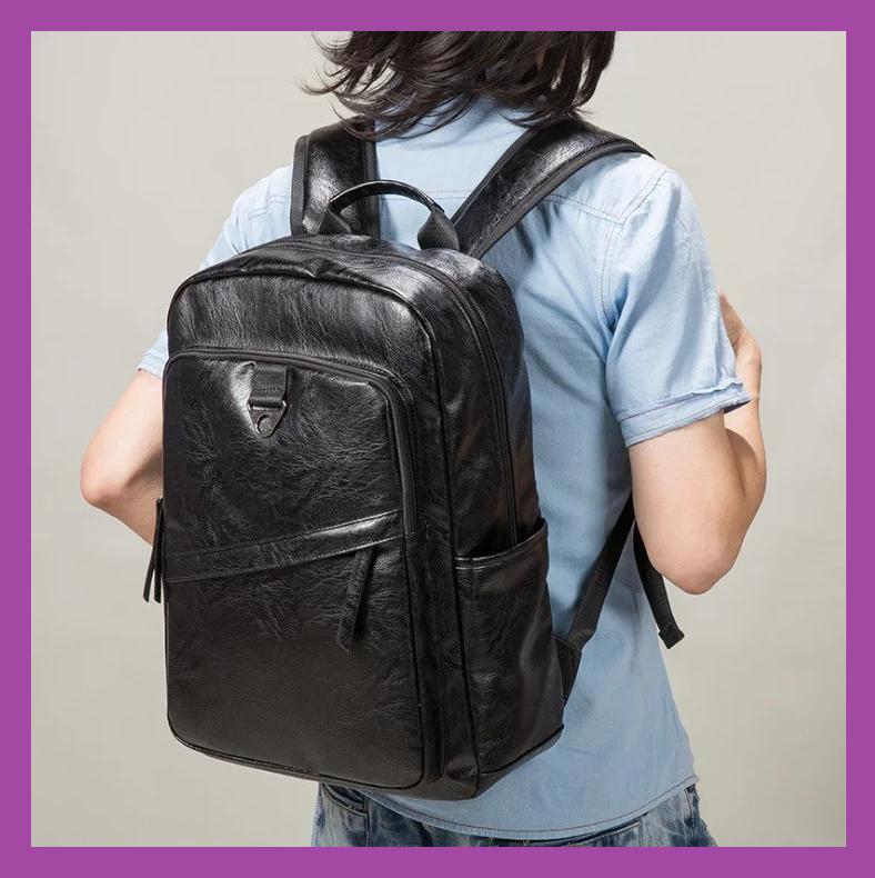 Великий чоловічий рюкзак PU шкіра чорний, Стильний повсякденний чоловічий рюкзак, міські Рюкзаки