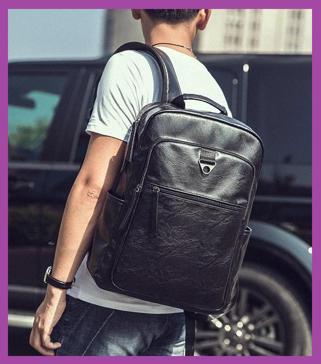 Великий чоловічий рюкзак еко шкіра чорний, Стильний повсякденний чоловічий рюкзак , міські Рюкзаки