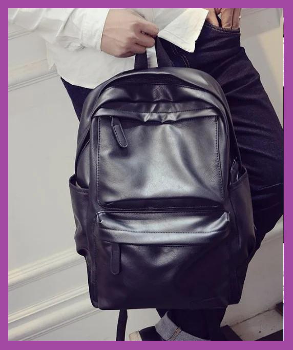 Стильний міський місткий чоловічий рюкзак еко шкіра, Повсякденний чоловічий рюкзак PU шкіра чорний