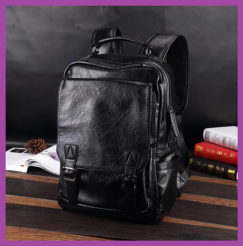 Місткий рюкзак міський ,Повсякденний чоловічий рюкзак PU шкіра чорний, міські Рюкзаки