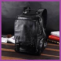 Місткий рюкзак міський ,Повсякденний чоловічий рюкзак PU шкіра чорний, міські Рюкзаки, фото 1