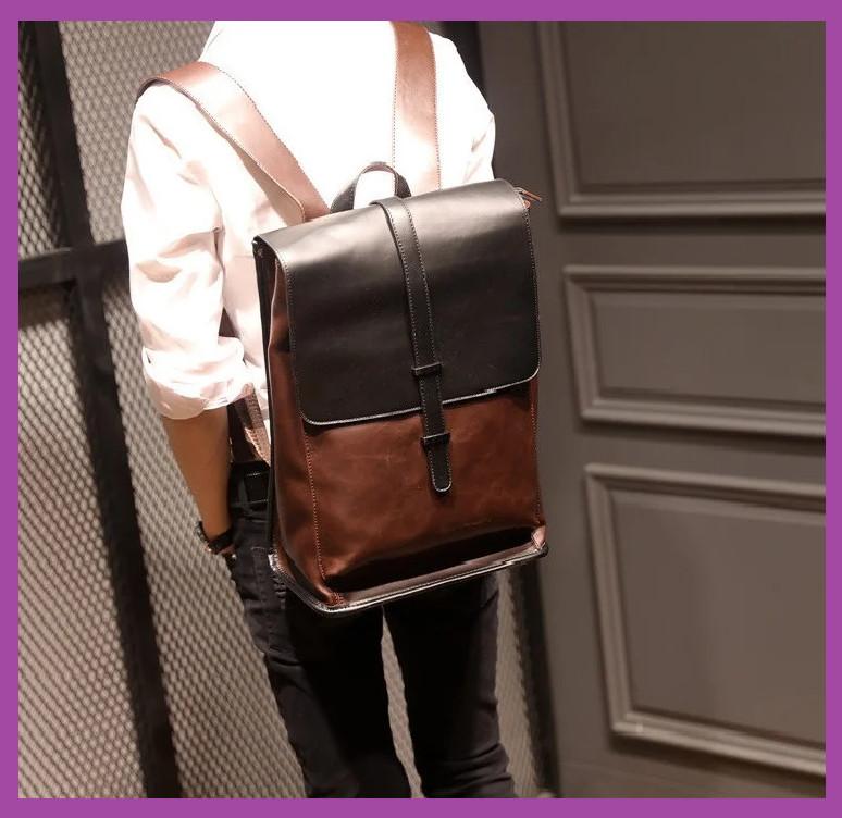 Стильный городской рюкзак мужской, Повседневный мужской рюкзак PU кожа коричневый, Рюкзаки городские
