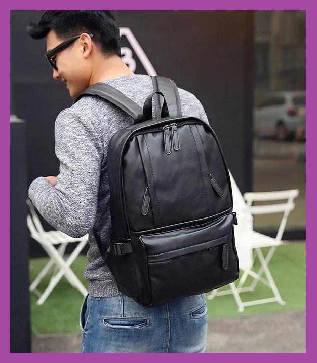 Повседневный мужской рюкзак PU кожа черный, Стильный большой мужской рюкзак для ноутбука , Рюкзаки городские