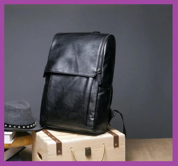 Стильний великий чоловічий міський рюкзак, чоловічий рюкзак для ноутбука з екошкіри чорний, міські Рюкзаки